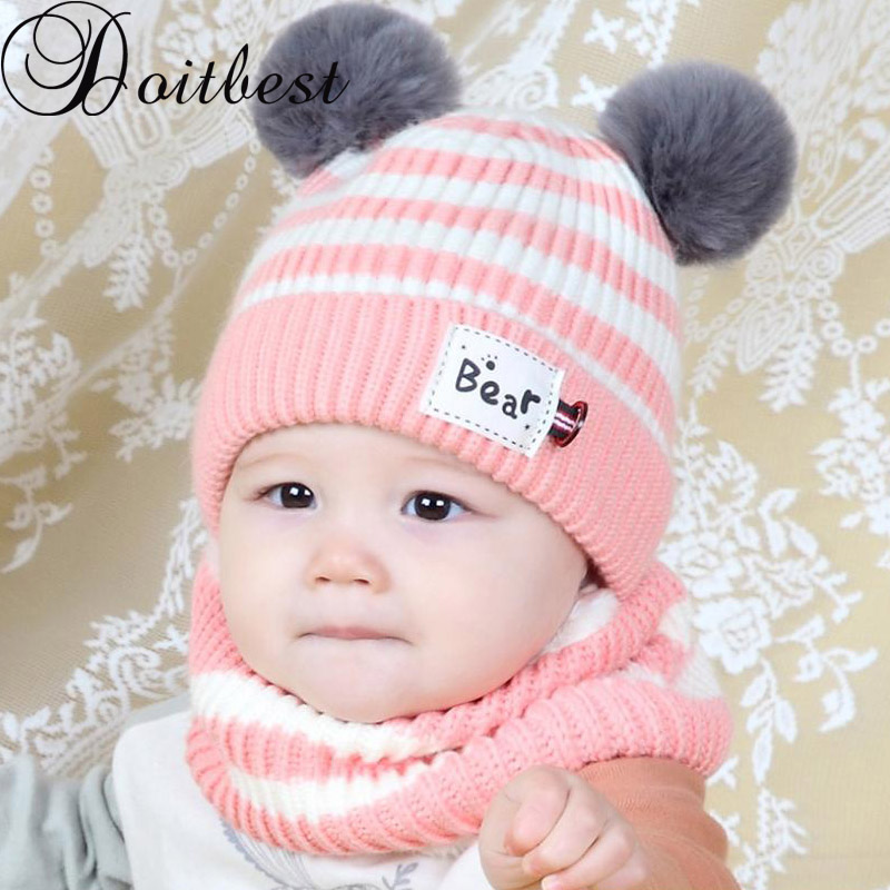 Doitbest 6 Momths To 3 Y Kids Beanie Striped Hair Bull Kids Boys Knitted Fur Hats Winter 2 Pcs Baby Wool Boy Girl Scarf Hat Set