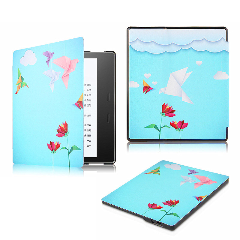 Ultra Thin Print Folio Stand PU Leather Magnet Smart Shell Sleeve Cover Case For Amazon Kindle Oasis 7 Tablet Funda Protector