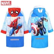 все цены на Disney Raincoat for Children Cartoon Spiderman US Captain Kids Girls Rainproof Poncho Boys Rainwear  Baby Rainsuit онлайн