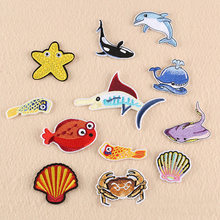 Shark Dolphin Whale Fish Sea Animals Embroidered Patches for Clothing Iron on Clothes Jeans Kids Appliques Badge Stripe Sticker(China)