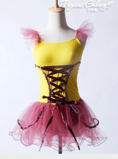 新しいスタイルイエローフェアリー子供大人プリンセスジャズタップ叙情的なダンスのチュチュ女の子バレエドレス  グループ上の ノベルティ & 特殊用途 からの バレエ の中 1