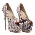 Женщины На Высоких Каблуках Платформы Насосы Новый Конструктор Женская Обувь С Каблуками Сексуальная Peep Toe Высокие Каблуки 16 см Zapatos Mujer Tacon