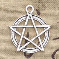 10 sztuk Charms gwiazda pentagram 31x27mm Antique Silver Plated zawieszki dokonywanie DIY Handmade tybetański srebrny biżuteria