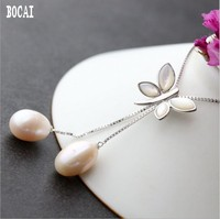 100% true 925 sterling silver set with natural pearl pendant fashion shell silver butterfly pendant women's silver chain