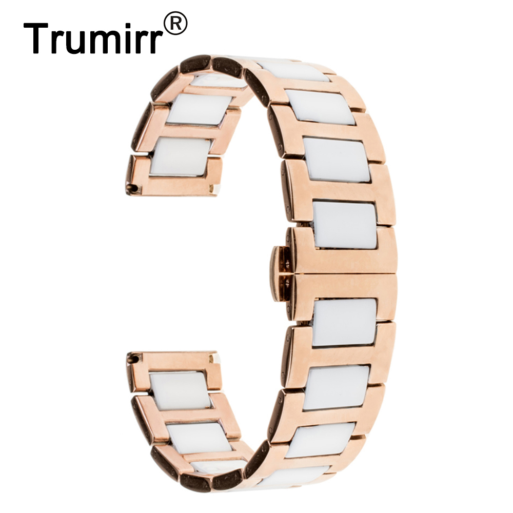 22mm Ceramic Watch Band for Samsung Gear 2 R380 / R381 / R382 Butterfly Buckle Strap Wrist Belt Bracelet Black Rose Gold White