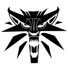 14.5*12.5cm Creative Car Styling Decal Witcher Wolf Medallion Vinyl Car Stickers Black/Silver(China)