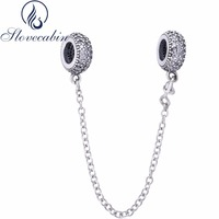 Slovecabin Diy Fit Original Pandora Bracelet Real 100 925 Sterling Silver Inspiration Safety Chain Charms Beads