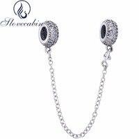 Slovecabin Diy Fit Ursprüngliche Pandora Armband Echte 100% 925 Sterling Silber Inspiration Sicherheitskette Charmekorne Mit Klaren CZ