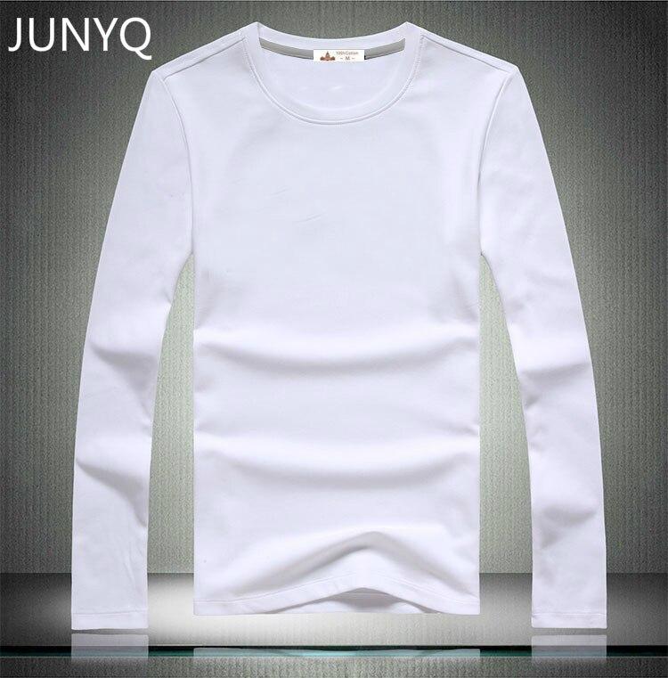 Livraison gratuite 2018 Marque vêtements Blanc T-shirts à manches longues casual T-shirt 100% coton hommes t chemises