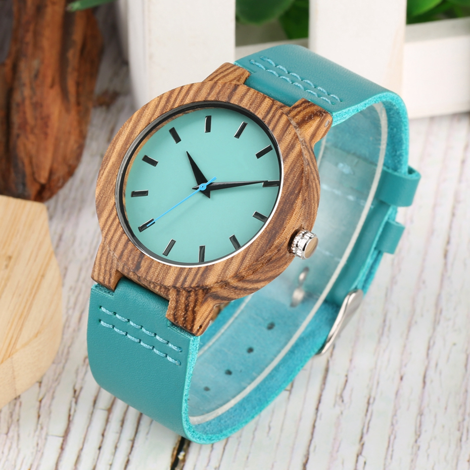 DIY Customized Logo Wood Watch Women Creative Engraved Retro Wooden with Blue Genuine Leather Souvenir Gifts for Girl Girlfriend 2019 2020 2022 (4)