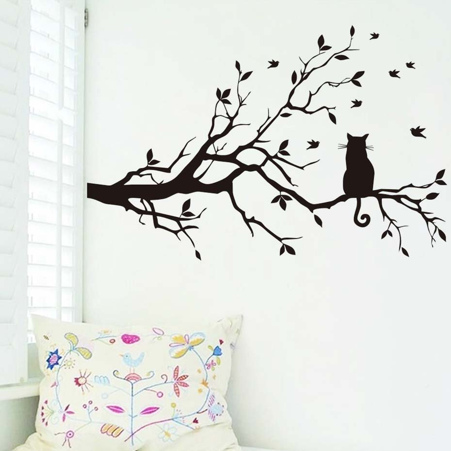 Image 2 - Little Cat on the Tree with Birds Sticker Wall Art Large Home Decorative Decal for Living Room kids Bedroom Mural Wallpaper-in Wall Stickers from Home & Garden