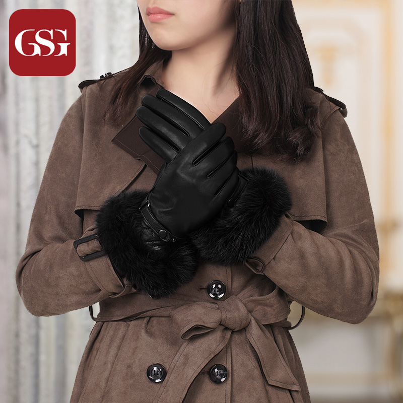 GSG Women Fashion Touchscreen Leather Gloves Ladies Real Rabbit Fur Winter Warm Genuine Leather Gloves Wool Lined Black Red