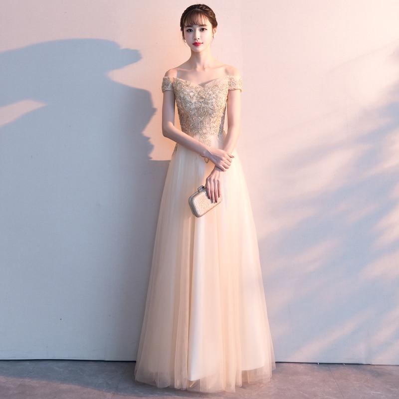 ruthshen 2019 New Vestido De Formatura Longo Elegant Champagne A-line Off The Shoulder   Prom     Dresses   Appliques On Tulle