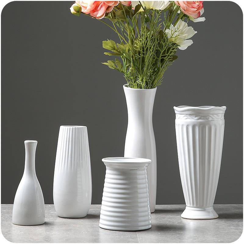 perfect Wedding Gift - Classic Handmade White Ceramic Flower Vase