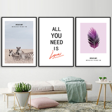 Zebra Grassland Purple Leaves Quotes Wall Art Canvas Painting Nordic Posters And Prints Pictures For Living Room Home Dec