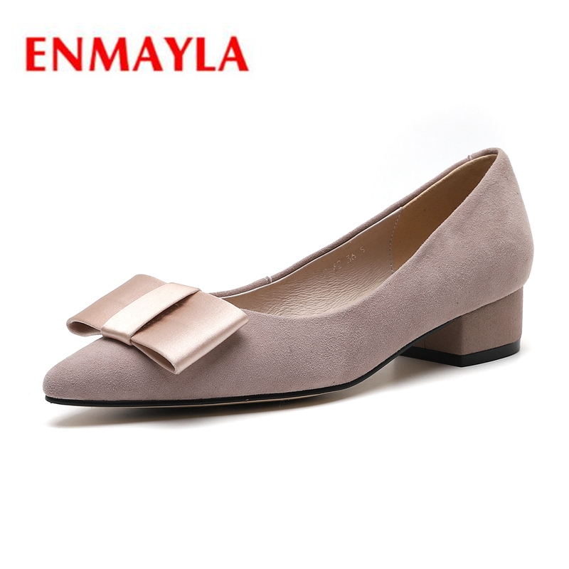 ENMAYLA/Замшевые повседневные женские туфли без застежки на квадратном каблуке с острым носком, женские туфли-лодочки, размеры 34-39, ZYL2087