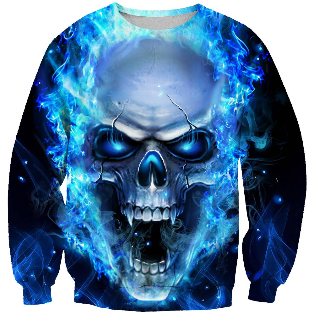 Sweatshirt Hoodie Skulls-Printed Crew-Neck Long-Sleeved with Men's Jerseys 3D And New
