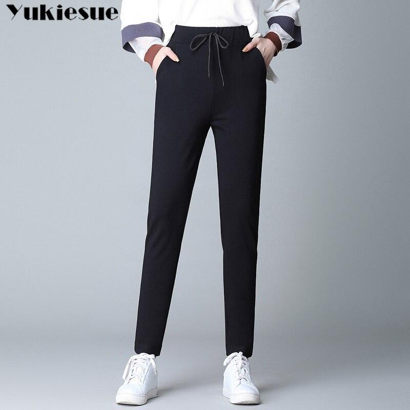 summer 2019 women's   pants     capris   harem   pants   for women wigh high waist elastic loose female trousers woman Plus size 4XL black