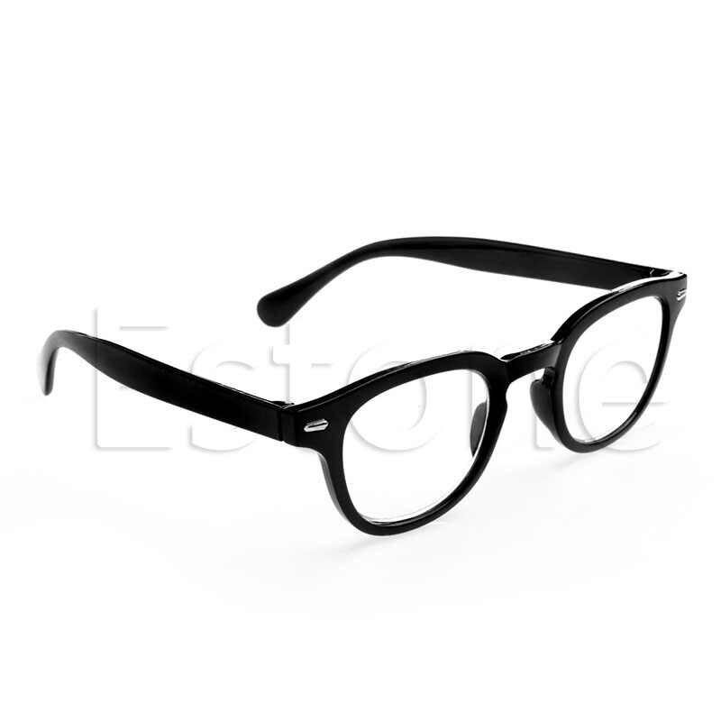 Retro Yuvarlak Çerçeve Rimed okuma gözlüğü Gözlük Leopar baskı Siyah + 1 + 4