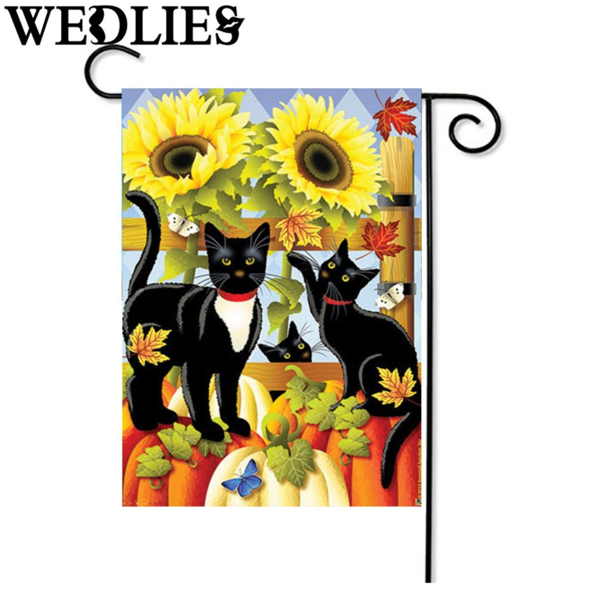 Amazing Pumpkin Black Cats Fall Sunflower House Garden Flag Home Living Room  Decorative Craftwork Gadgets Boutique Shop