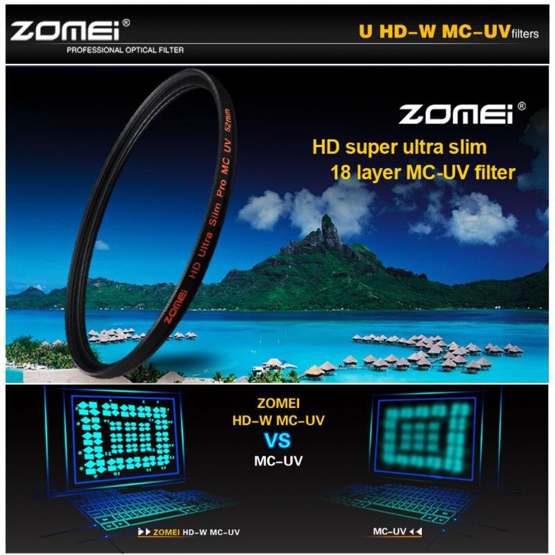 ZOMEI PRO Ultra Mince HD MCUV 18 Couches Verre Multicouche MC Filtre UV pour Canon NIkon Hoya Sony lentille de la caméra
