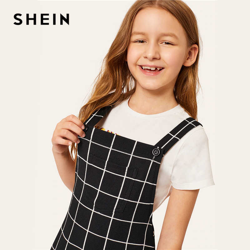 SHEIN Kiddie/черное клетчатое платье в клетку с карманом спереди; платье для девочек в консервативном стиле; одежда для подростков; коллекция 2019 года; Летние Детские платья без рукавов на пуговицах