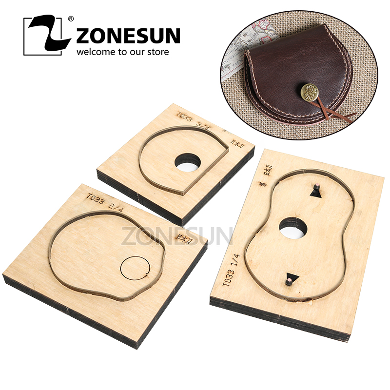 все цены на ZONESUN T033 Customized Leather Cutting Die Handicraft Tool Coin Purse Punch Coin Pouch Cutter Mold DIY Paper Laser Knife Die онлайн