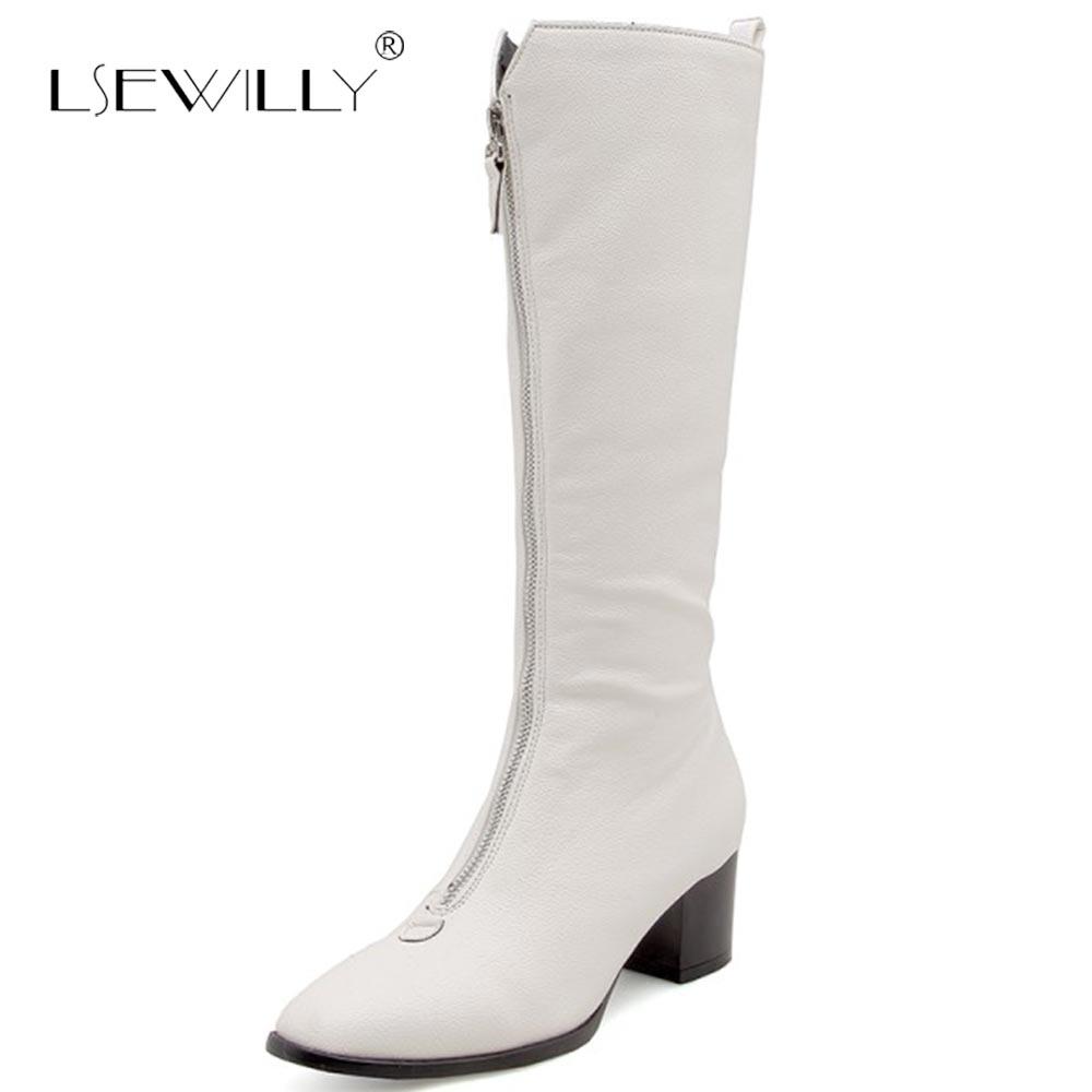Otoño white Tacón Zapatos Altas Sexy De Rodilla Tamaño Cuadrados negro E55 33 50 Lsewilly Invierno Mujeres Apricot Botas Más Alto Cremallera Slim Largas zBgpX