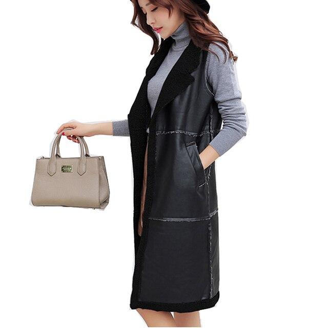 2c44bee412f High Quality Fashion vest women PU leather long vests female autumn winter waistcoat  sleeveless coat jackets
