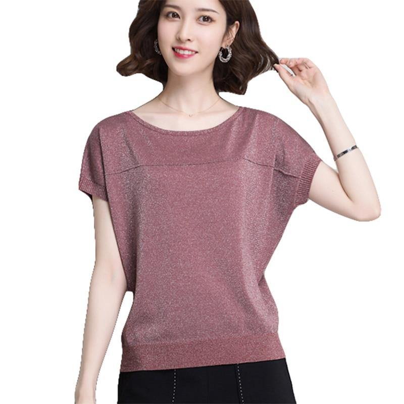 Women's Summer   Blouse   Short Bat Sleeve Loose Elastic   Shirt   O-Neck Cotton Blusas Femininas Casual Tops Female   Shirts   Women Solid