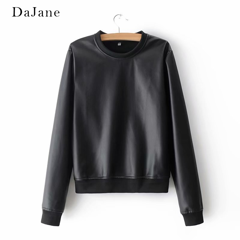 Summer New women's   Leather   Jacket Round Neck Sweater +   Leather   Pants Suit Manufacturers   Leather   Jacket Women