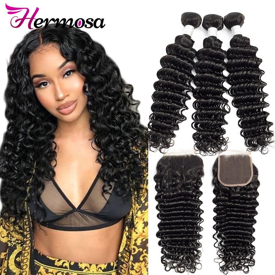 HTB1muDTX3mH3KVjSZKzq6z2OXXaK Hermosa Brazilian Deep Wave Bundles With Closure Double Weft Non-Remy Human Hair Bundles With Closure Natural Black Middle Ratio
