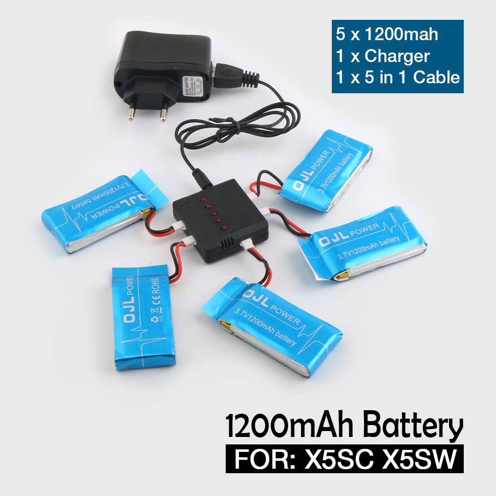 NEW Syma X5SW X5SC RC Quadcopter Battery 3.7V1200mAh Lipo Battery Spare Parts with 5 in1 cable 10w power adapter extension cable for macbook ipad us plug 160cm length