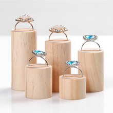 5 Pcs Wooden Ring Jewelry Display Rack Organizer Stand Cone Shape Holder(China)