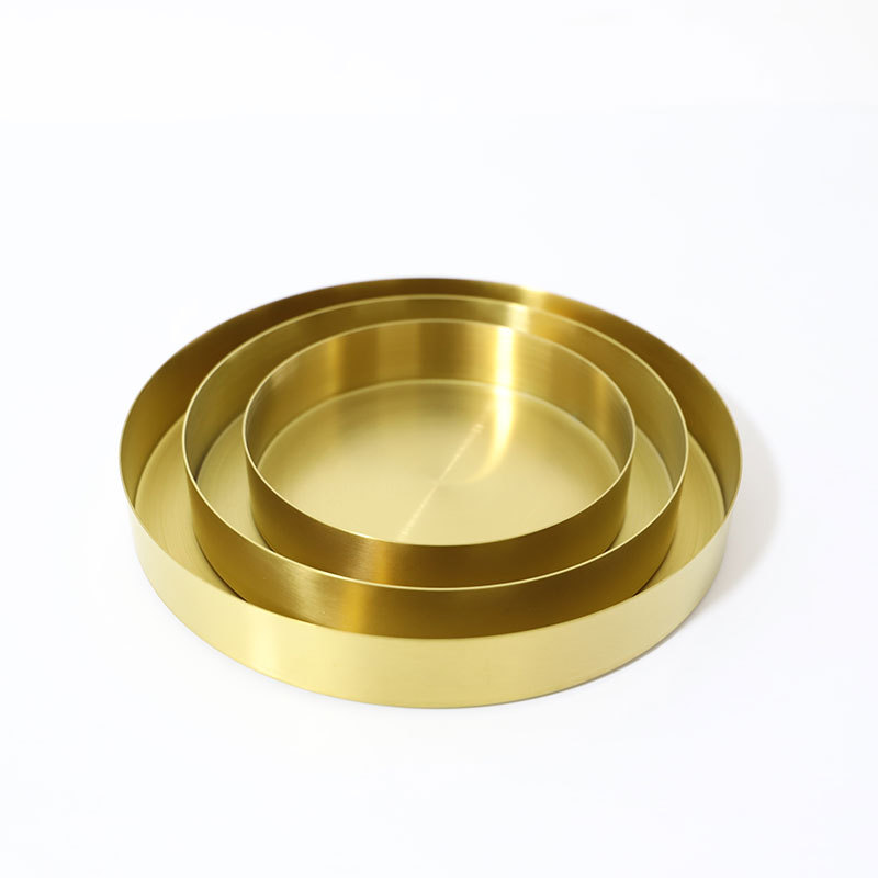 Nordic Stainless Steel gold cake holder pan round storage tray metal Plate Decorative Home Jewelry Disk Metal Sundries Pallet