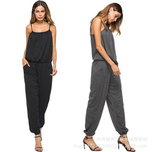 2018 New Arrival None Jumpsuits Full Loose European and American ladies suspenders jumpsuit spring pants