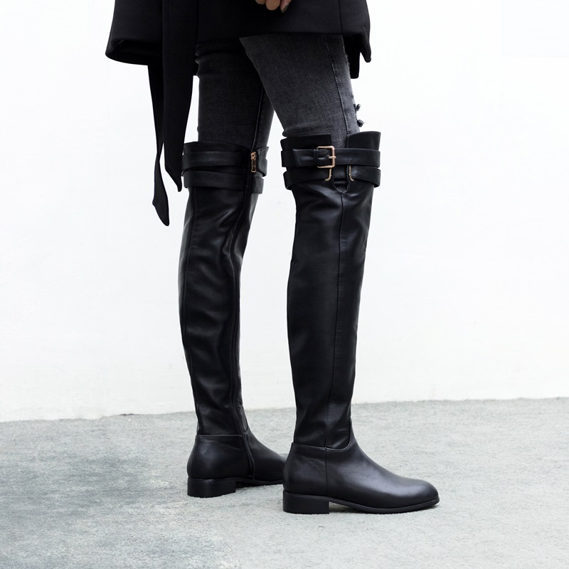 ZVQ women shoes 2019 winter new concise casual genuine leather boots low square heel zip round toe black outside over knee boots-in Over-the-Knee Boots from Shoes    2