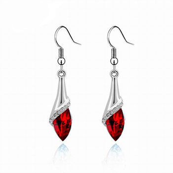 Women's Drop Crystal Earrings Earrings Jewelry Women Jewelry Metal Color: E019 Deep Red
