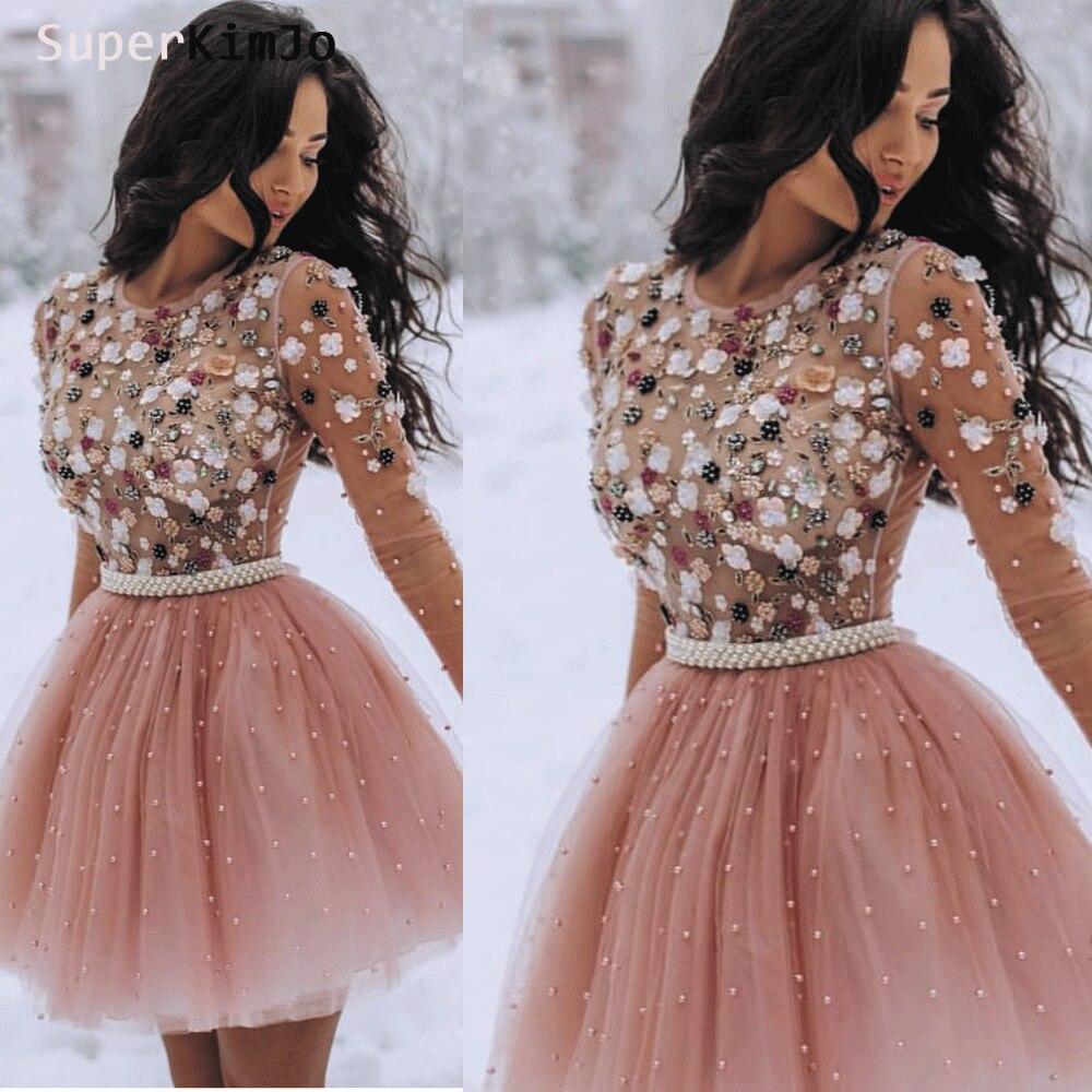 Nett Rosa 2019 Homecoming Kleider A-linie Cap Sleeves Knie Länge Tüll Spitze Perlen Elegante Cocktail Kleider Abschlussballkleider
