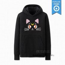 Аниме сейлор мун черный кот луна причинно с длинными рукавами хлопок толстовки косплей костюм
