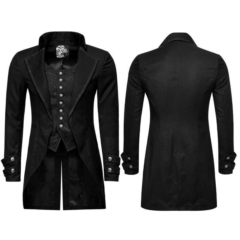 69c5d63507 ... PUNK RAVE Gothic Vintage Victorian Fake Two-Pieces Brocade Long Jacket  Embroidery Buttoned Dovetail Men ...