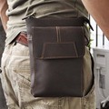 Men Crazy Horse Genuine Leather Fanny Waist Pack Bag Cell/Mobile Phone Case Coin Purse Belt Hip Bum Cross Body Shoulder Bags