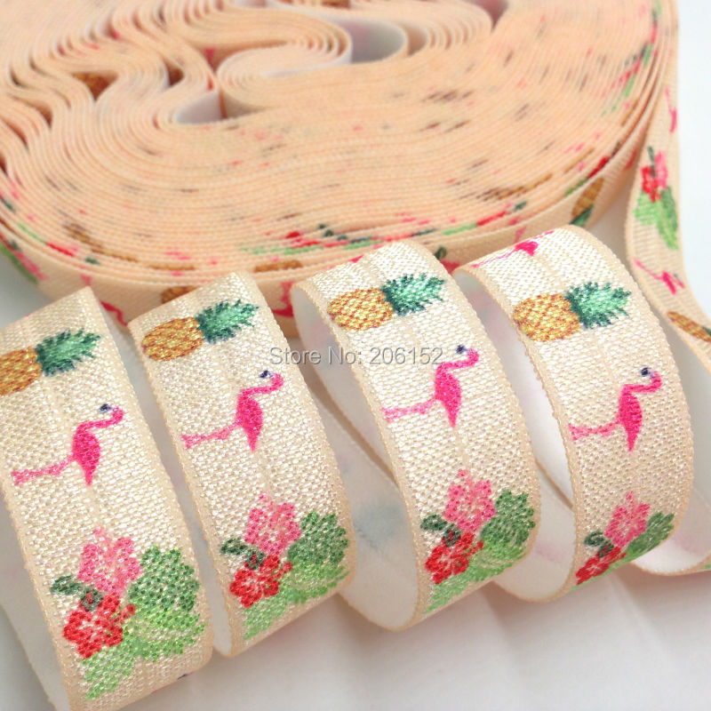 New Arrival Flamingo Hibiscus Pineapple Fold Over Elastic 5/8 Peach FOE Ribbon for DIY Headwear Hair Accessories 10yards/lot