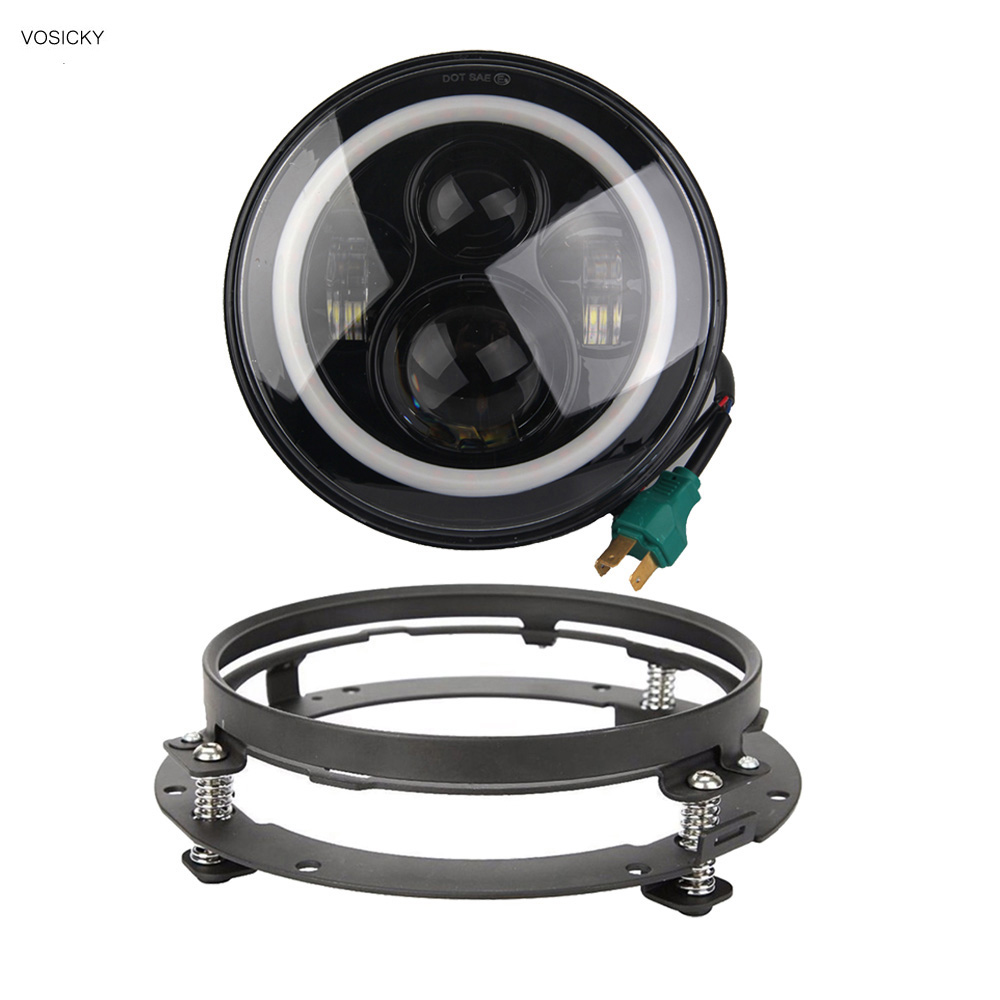 VOSICKY 7 Inch LED halo Headlights Daymaker with Angel Eye & DRL & Turn Signal Lights Angel Eyes with bracket For harley