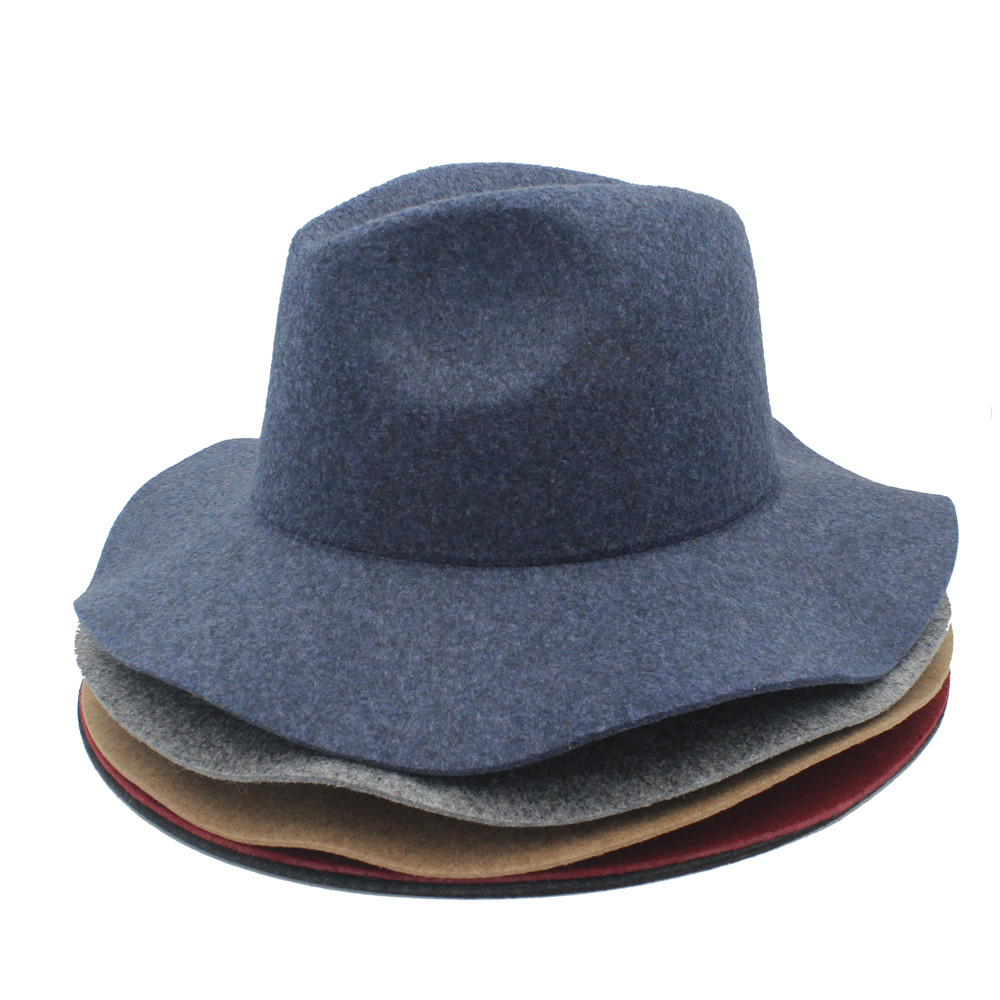 Fedora Autumn Winter 100/% Hemp Wool Wide Brim hat Men Floppy Felt Trilby Hat Panama Church Top Cap