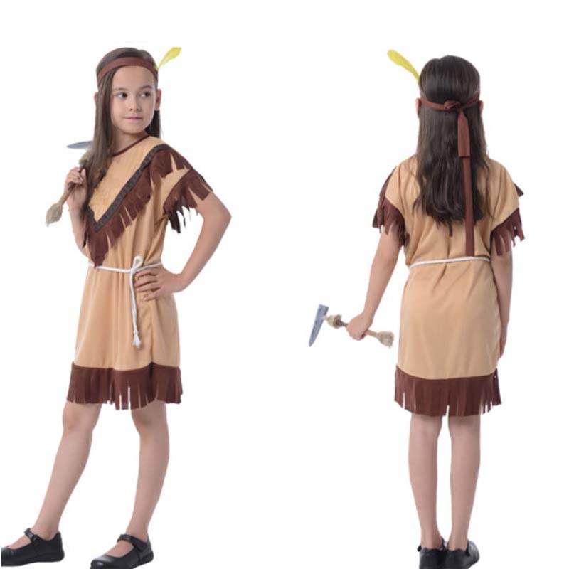 Bambini Boy Girl Native American Indian Princess Costume Cosplay - Costumi di carnevale