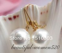 WOW 14 mm white round south sea shell pearl earrings
