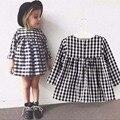 1-4Y Crianças Vestidos para Meninas Novo 2017 do Clássico Preto e branco Casual Xadrez de Manga Longa Tutu Vestido Da Menina Roupas De Natal DRE003