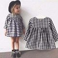 1-4Y Kids Dresses for Girls New 2017 Classic Black and White Plaid Casual Long Sleeve Tutu Dress Girl Christmas Clothing DRE003