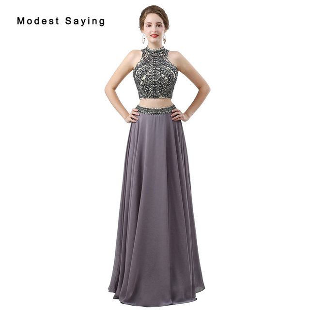 358a5a1b5ff9cb Sexy Grey A-Line Beaded 2 Piece Prom Dresses 2018 with Rhinestone Formal  Women Crop Top Party Prom Gowns vestido de formatura